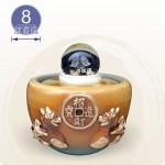 【風水球(M)】雙貔貅聚寶盆滾球(8cm元寶水晶玻璃球)