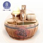 【風水球(大)】仿木陶瓷木桶水車滾球(中)(8cm黃玉球)