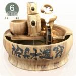 【風水球(中)】仿木陶瓷木盆水車滾球(6cm光球)