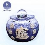 【風水球(M)彩燈】招財進寶LED圓水琴滾球(天目藍)(8cm滾球)