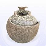 【流水】 台華窯荷葉水琴流水(天目白)(高度約28公分)