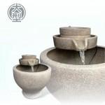 【石磨流水】陶藝色石磨(大)三層流水(甕直徑約42cm、總高48cm)