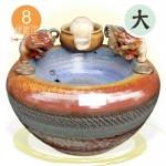 萬財歸我【(獨家)(大型)雙貔貅+風水球(8cm)】漩渦流水