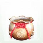 【聚寶盆】乾隆甕(19)(黃)(錢幣、元寶)聚寶盆〈背面無圖〉