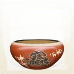 【上等】聚寶盆(直徑:約30cm)(字:招財進寶 圖:竹子)(紅)
