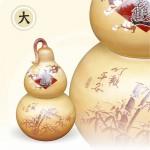 頂級雙層甕招財大葫蘆(竹報平安)(平光釉)