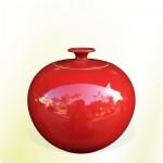 【上等】大紅釉有蓋聚寶甕(直徑約23cm)