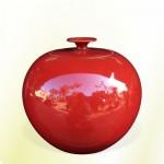 【上等】大紅釉有蓋聚寶甕(直徑約29cm)
