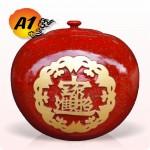 招財納福蓋甕(A1)(標準紅)