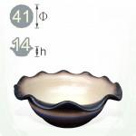 【荷葉盆】三彩荷葉盆(約 41 x 14 )