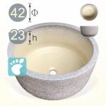 【泡腳盆】 圓形陶藝灰色(內米白色)