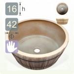 【洗手盆】( 圓 ) 彷木陶瓷洗手盆