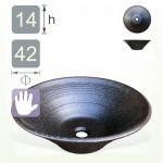 【洗手盆】( 錐 ) 亮黑白點錐形洗手盆