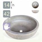 【洗手盆】( 圓 ) 陶藝灰色洗手盆
