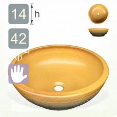 【洗手盆】( 圓 ) 黃彩釉(上黃下綠跳刀)洗手盆