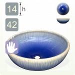 【洗手盆】( 圓 ) 藍流釉洗手盆